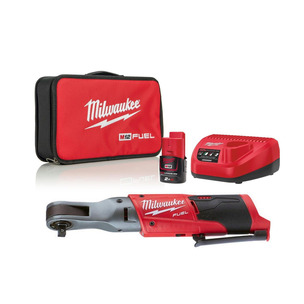 """Milwaukee M12FIR38-201B 12V Fuel 3/8""""  Ratchet Kit (1 x 2.0Ah RedLithium-Ion Battery, Charger & Toolbag)"""