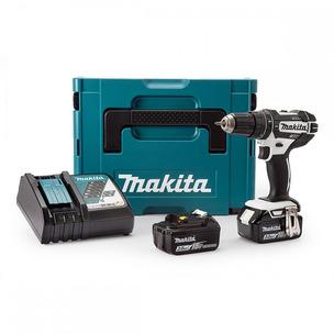 Makita DHP482RFWJ 18V LXT White Compact Combi Drill (2 x 3.0Ah Li-Ion Batteries & Case)