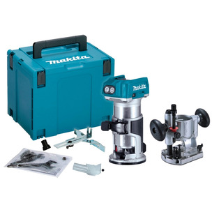 Makita DRT50ZJ 18V LXT Brushless Router/Trimmer (Body Only) with 195563-0 Plunge Router Base
