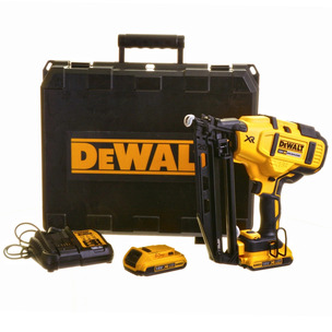 DeWalt DCN660D2 18V XR 2nd Fix Brushless Nailer Kit (2 x 2.0Ah Li-Ion Batteries, Charger & Case)