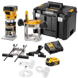 Dewalt DCW604P2 18V XR Brushless Router/Trimmer with Extra Bases (2 x 5.0Ah Li-Ion Batteries, Charger & Case)