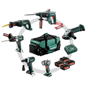 Metabo 691008000 18V 6 Piece Cordless Kit with 4 x 4.0Ah Batteries in Bag