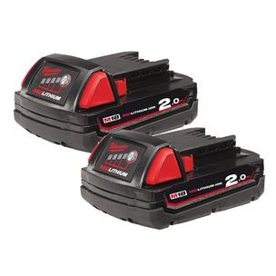Milwaukee M18B2 18V 2.0Ah RedLithium-Ion Batteries (Twin Pack)