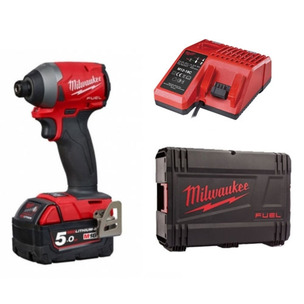 Milwaukee M18FID2-501X 18V GEN3 Impact Driver Kit (1 x 5.0Ah RedLithium-Ion Battery, Charger and Case)