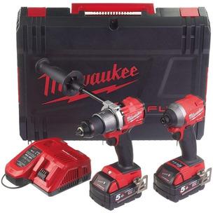 Milwaukee M18FPP2A2-502X Fuel M18FPD2 & M18FID2 Impact Driver (2 x 5.0Ah Li-Ion batts)