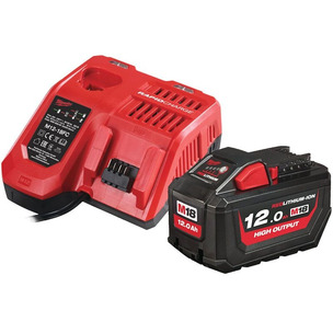 Milwaukee M18HNRG-121 18V 12.0Ah RedLithium-Ion High Output Battery and Charger Pack (1 x Battery + Charger)