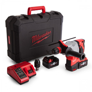 Milwaukee HD18HX-402C 18V Heavy Duty SDS Hammer Drill Kit (2 x 4.0Ah RedLithium-Ion Batteries, Charger & Case)