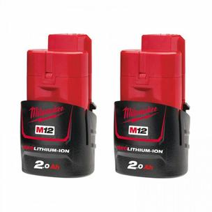 Milwaukee M12B2 12V 2.0Ah RedLithium Batteries (Twin Pack)