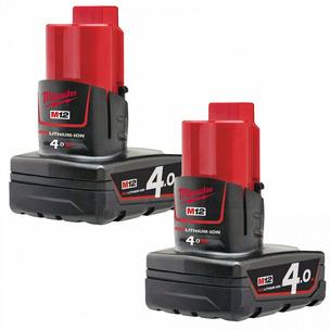 Milwaukee M12B4 M12 4.0Ah RedLithium-Ion Batteries (Twin Pack)