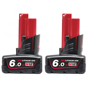 Milwaukee M12B6 12V 6.0Ah RedLithium-Ion Batteries (Twin Pack)