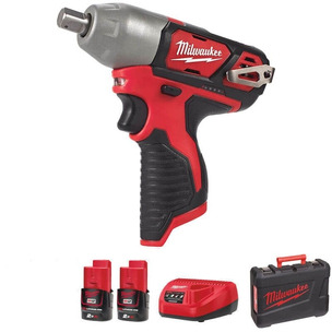 """Milwaukee M12BIW12-202C 12V 1/2"""" Compact Impact Wrench Kit (2 x 2.0Ah RedLithium-Ion Batteries, Charger & Case)"""