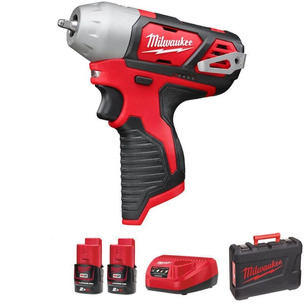 """Milwaukee M12BIW14-202C 12V 1/4"""" Compact Impact Wrench Kit (2 x 2.0Ah RedLithium-Ion Batteries, Charger & Case)"""