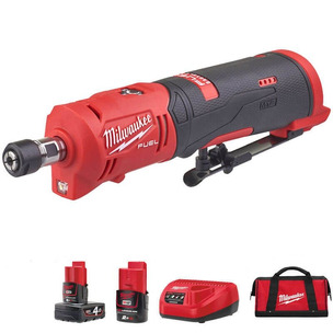 """Milwaukee M12FDGS-422B 12V Fuel 1/4""""  Straight Die Grinder Kit (1 x 2.0Ah battery, 1 x 4.0Ah battery, Charger & Toolbag)"""