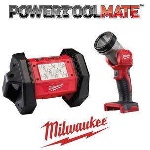 Milwaukee 18V Lighting Bundle - M18AL Trueview LED Area Light & M18TLED LED Torch Light (Body only)