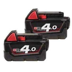 Milwaukee M18B4 18V 4.0Ah RedLithium-Ion Batteries (Twin Pack)