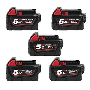 Milwaukee M18B5 5.0Ah RedLithium-Ion Batteries (Five Pack)