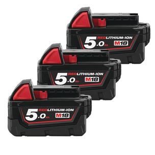 Milwaukee M18B5 18V 5.0Ah RedLithium-Ion Batteries (Triple Pack)
