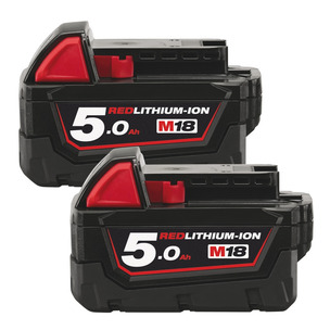 Milwaukee M18B5 18V 5.0Ah RedLithium-Ion Batteries (Twin Pack)