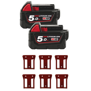 Milwaukee M18B5 18V 5.0Ah RedLithium-Ion Batters (Twin Pack) + 6 Pack Battery Holders