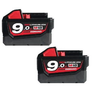 Milwaukee M18B9 18V 9.0Ah RedLithium-Ion High Demand Batteries (Twin Pack)