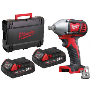 """Milwaukee M18BIW12-202C 18V Compact 1/2"""" Impact Wrench with Case (2 x 2.0Ah RedLithium-Ion Batteries)"""