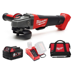Milwaukee M18CAG115XPDB-501B 18V Fuel 115mm Angle Grinder (1 x 5.0Ah RedLithium-Ion Batteries, Charger & Bag)