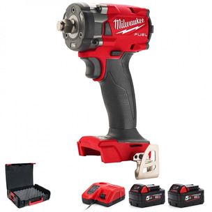 """Milwaukee M18FIW2F12-502X 18V Fuel 1/2"""" Compact Impact Wrench with Friction Ring Kit (2 x 5.0Ah RedLithium-Ion Batteries, Charger & Case)"""