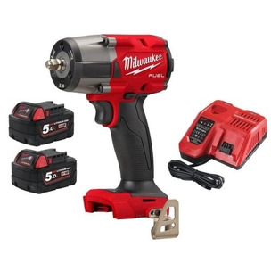 Milwaukee M18FMTIW2F12-502X 18V Fuel GEN2 Mid-Torque 1/2'' Impact Wrench with Friction Ring Kit (2 x 5.0Ah RedLithium-Ion Batteries, Charger & Case)