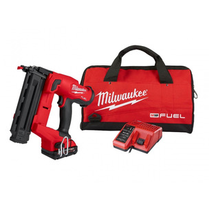 Milwaukee M18FN18GS-202X 18V Fuel 18G Finish Nailer Kit (2 x 2.0Ah RedLithium-Ion Batteries, Charger & Toolbag)