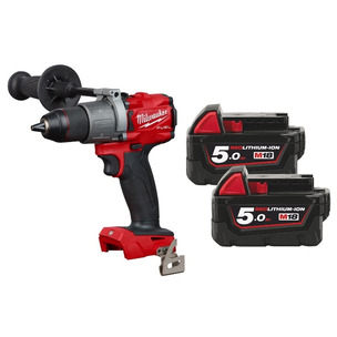 """Milwaukee M18FPD2-0 18V 1/2"""" Fuel Percussion Drill (Body Only + 2 x 5.0Ah RedLithium-Ion Batteries)"""