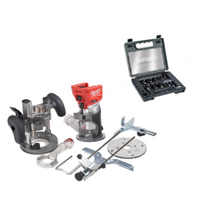 Milwaukee M18FTR-0X 18V Fuel Cordless Trim Router & Trend 1/4in'' 12 Piece Router Cutter Set