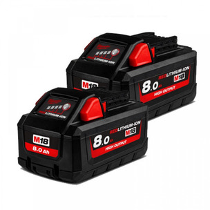Milwaukee M18HB8 18V 8.0Ah RedLithium-Ion High Output Batteries (Twin Pack)