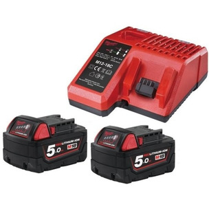 Milwaukee M18NRG-502 18V 5.0Ah RedLithium-Ion Batteries & Fast Charger Pack (2 x Batts & Charger)