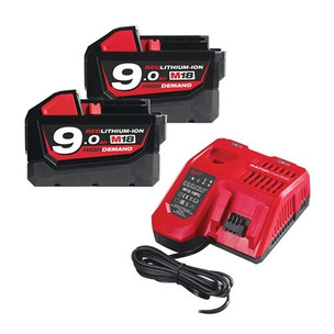 Milwaukee M18NRG-902 18V Energy Pack (2 x M18B9 9.0Ah Batteries and Charger)