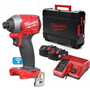 Milwaukee M18ONEID2-502X 18V GEN3 Fuel Impact Driver (2x 5.0Ah RedLithium-Ion Batteries, Charger & Case)