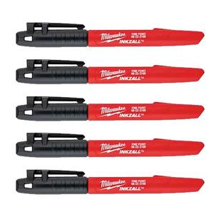 Milwaukee 48223100/FIVE  Inkzall Jobsite Fine Point Marker Pen (Pack of 5)