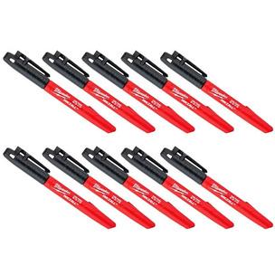 Milwaukee 48223100/TEN Inkzall Jobsite Fine Point Marker Pen (Pack of 10)