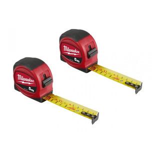 Milwaukee 48227706 5m Slimline Tape Measure - Metric Only (5m x 25mm) TWIN PACK