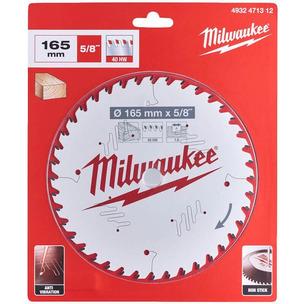 "Milwaukee 4932471312 Wood Cutting Anti-Friction Circular Saw Blade (165mm x 5/8"" x 40T)"