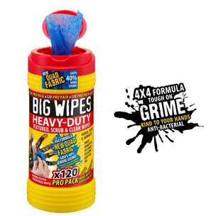 120 PRO PACK Big Wipes Red Top 4x4 Quad Heavy-Duty Large Hand Cleaning Wipes