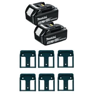 Makita BL1850 18V LXT 5.0Ah Li-Ion Batteries (Twin Pack) + 6 Pack Battery Holders