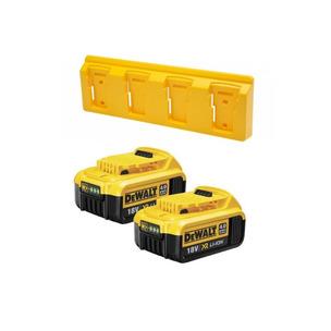 DeWalt DCB182TWIN/HOLDER 18V XR 4.0Ah Li-Ion Batteries (Twin Pack) + 6 Pack Battery Holders