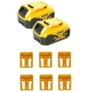DeWalt DCB184 18V XR 5.0Ah Li-Ion Batteries (Twin Pack) + 6 Pack Battery Holders
