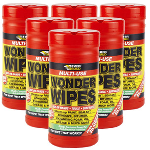 6 X Everbuild Multi Purpose Wonder Wipes Hand Cleaners for Oil & Grease 100 tub