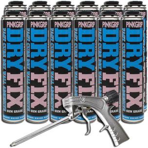 Box X 12 EverBuild Pinkgrip Dryfix Expanding Adhesive Foam 750ML w/ Applicator Gun