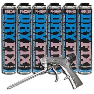 6 x Everbuild Pinkgrip Dry Fix Drywall Adhesive 750ml and Applicator Gun Dryfix
