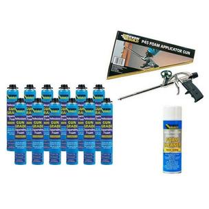 Everbuild Expanding Foam Kit - Applicator, Gun Grade Foam x 12, Cleaner