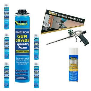 Everbuild Expanding Foam Kit - Applicator, Gun Foam x 6 and Cleaner