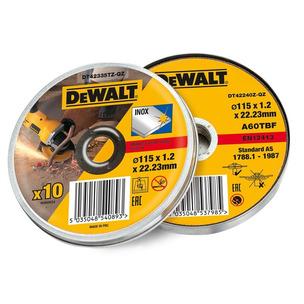 DEWALT DEWDT42335TZ Stainless Steel Metal Flat Cutting Discs 115mm Tin of 10