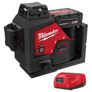 Milwaukee M123PL-601C Green 360° 3-Plane Laser Kit - Includes M12B6 & C12C Charger